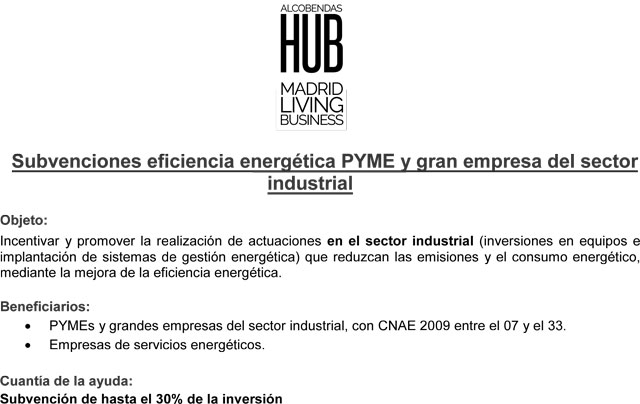 Subvenciones para la eficiencia energética PYME y gran empresa del sector industrial